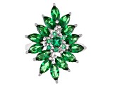 Green Cubic Zirconia Rhodium Over Sterling Silver Ring 6.17ctw
