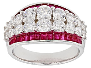 Lab Created Ruby and White Cubic Zirconia  Rhodium Over Sterling Silver Ring 5.04ctw