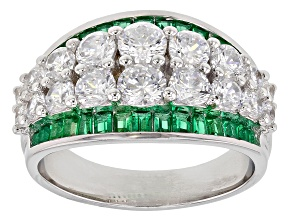 Green and White Cubic Zirconia Rhodium Over Sterling Silver Ring 5.04ctw