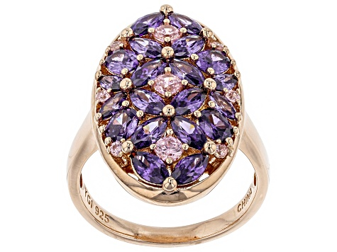pink and purple cubic zirconia 18k rg over sterling silver ring 5.47ctw