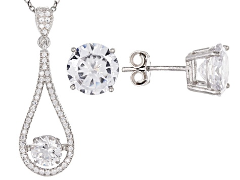 13cca2bac White Cubic Zirconia Rhodium Over Sterling Silver Pendant With Chain and  Earrings 9.39ctw