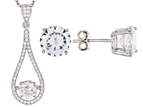 White Cubic Zirconia Rhodium Over Sterling Silver Pendant With Chain and Earrings 9.39ctw
