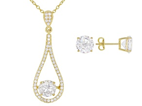 White Cubic Zirconia 18K Yellow Gold Over Silver Pendant With Chain and Earrings 9.39ctw