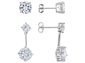 white cubic zirconia rhodium over sterling silver earrings set 15.42ctw