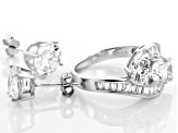 White Cubic Zirconia Rhodium Over Sterling Silver Ring and Earrings 11.29ctw