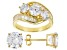White Cubic Zirconia 18K Yellow Gold Over Sterling Silver Ring and Earrings