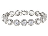 White Cubic Zirconia Rhodium Over Sterling Silver Tennis Bracelet 24.16ctw