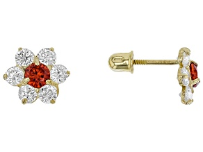 Orange and White Cubic Zirconia 14k Yellow Gold Earrings 0.28ctw