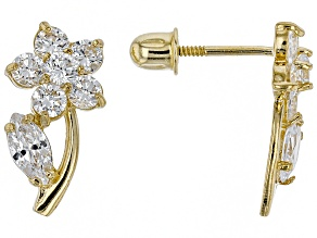 White Cubic Zirconia 14k Yellow Gold Earrings 0.29ctw