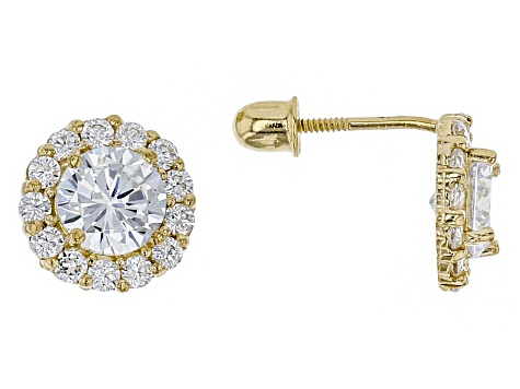White Cubic Zirconia 14k Yellow Gold Earrings 0.47ctw