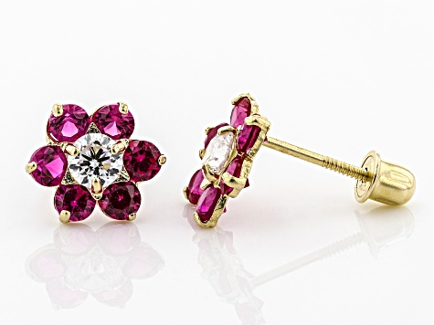 Red and White Cubic Zirconia 14k Yellow Gold Earrings 0.28ctw