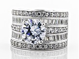 White Cubic Zirconia Rhodium Over Sterling Silver Ring 6.93ctw