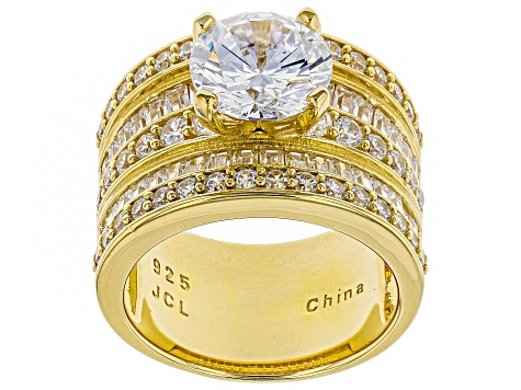 White Cubic Zirconia 18k Yellow Gold Over Sterling Silver Ring 6.93ctw