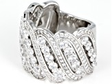 White Cubic Zirconia Rhodium Over Sterling Silver Ring 4.83ctw