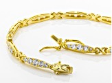 White Cubic Zirconia 18k Yellow Gold Over Sterling Silver Bracelet 4.32ctw
