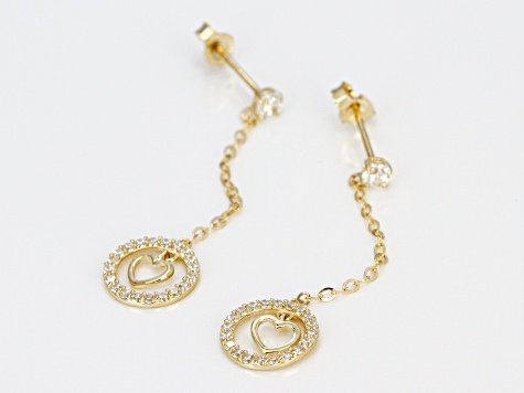 White Cubic Zirconia 10k Yellow Gold Earrings .44ctw