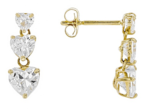White Cubic Zirconia 10k Yellow Gold Earrings 1.80ctw