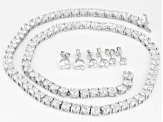 White Cubic Zirconia Rhodium Over Sterling Silver Necklace and Earrings 69.62ctw