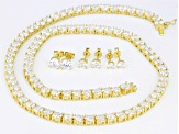 White Cubic Zirconia 18k Yellow Gold Over Sterling Silver Necklace and Earrings Set 69.92ctw