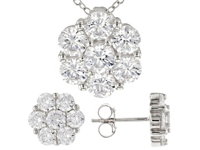 White Cubic Zirconia Rhodium Over Sterling Silver Pendant With Chain and Earrings 7.35ctw