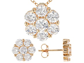 White Cubic Zirconia 18k Yellow Gold Over Sterling Silver Pendant With Chain and Earrings 7.35ctw