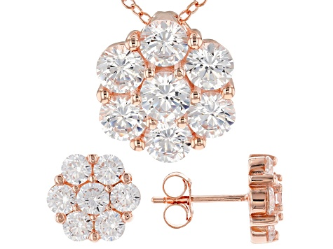 White Cubic Zirconia 18k Rose Gold Over Sterling Silver Pendant With Chain and Earrings 7.35ctw