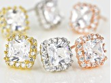 White Cubic Zirconia Rhodium & 18K Yellow/Rose Gold Over Silver Earrings Set 13.40ctw