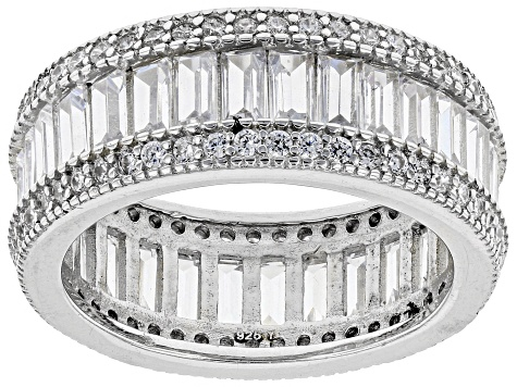 White Cubic Zirconia Rhodium Over Sterling Silver Ring 7.85ctw