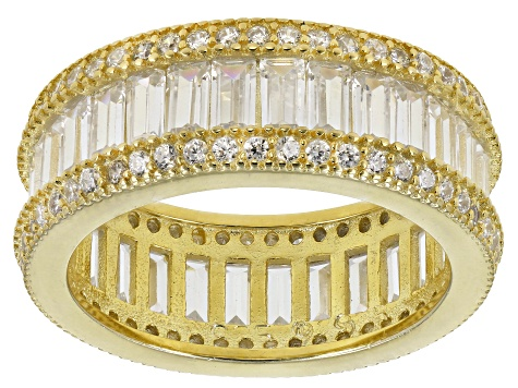 White Cubic Zirconia 18k Yellow Gold Over Sterling Silver Ring 7.85ctw
