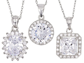 White Cubic Zirconia Rhodium Over Silver Set Of 3 Center Design Pendants With Chain