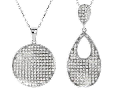 White Cubic Zirconia Rhodium Over Sterling Silver Set of 2 Pendants With Chains 2.60ctw