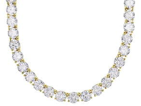 White Cubic Zirconia 18k Yellow Gold Over Sterling Silver Necklace 130.00ctw