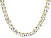 White Cubic Zirconia 18k Yellow Gold Over Sterling Silver Necklace 110.00ctw