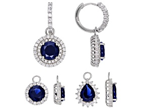 Lab Created Sapphire & White Cubic Zirconia Rhodium Over Sterling Silver Earrings Set 21.00ctw