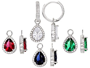 Lab Created Ruby/Sapphire/Emerald & White Cubic Zirconia Rhodium Over Silver Earrings