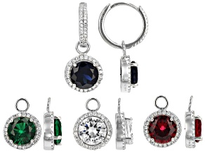 Lab Created Sapphire, Ruby, Emerald & White Cubic Zirconia Rhodium Over Silver Earrings