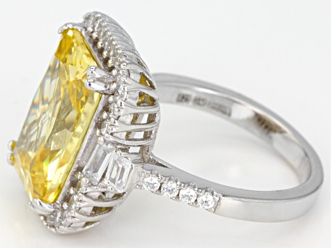 Yellow and White Cubic Zirconia Rhodium Over Sterling Silver Ring 16.94ctw