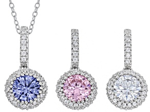 White, Pink, & Blue Cubic Zirconia Rhodium Over Silver Pendants With Chain 7.77ctw