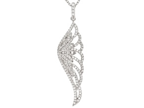 White Cubic Zirconia Rhodium Over Sterling Silver Angel Wing Pendant With Chain 1.16ctw
