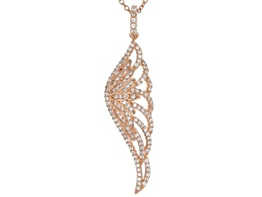 White Cubic Zirconia 18k Rose Gold Over Sterling Silver Angel Wing Pendant With Chain 1.16ctw