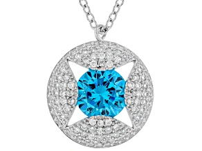 Blue & White Cubic Zirconia Rhodium Over Sterling Silver Pendant With Chain 4.77ctw