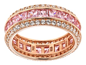 Pink & White Cubic Zirconia 18K Rose Gold Over Sterling Silver Ring 8.23ctw