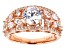 White Cubic Zirconia 18K Rose Gold Over Sterling Silver Center Design Ring 4.06ctw