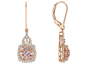 Pink color shift garnet 18k rose gold over silver earrings 2.16ctw