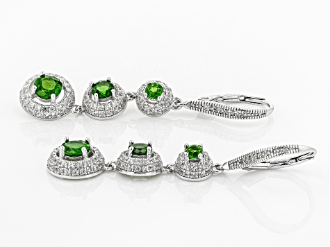 Green Chrome Diopside Rhodium Over Silver Earrings 3.69ctw