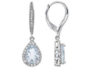 Blue Aquamarine Rhodium Over Silver Earrings 2.56ctw