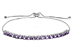 Purple Brazilian Amethyst Rhodium Over Sterling Silver Adjustable Bracelet 1.60ctw