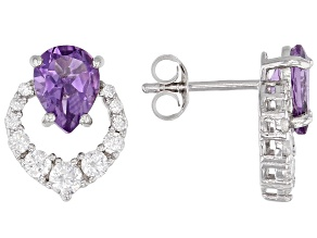 Purple Brazilian Amethyst Rhodium Over Silver Earrings 2.15ctw