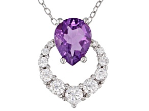 Purple Brazilian Amethyst Rhodium Over Silver Pendant/Slide 2.76ctw