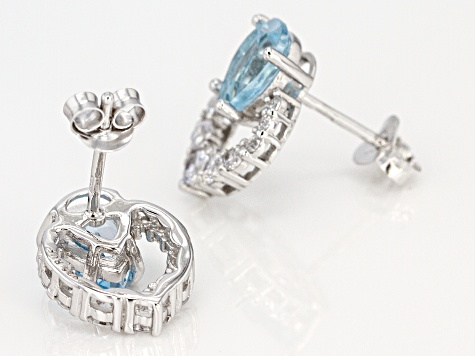 Blue Topaz Rhodium Over Silver Earrings 3.72ctw